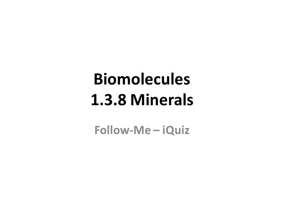 Biomolecules 1.3.8 Minerals Follow-Me – iQuiz