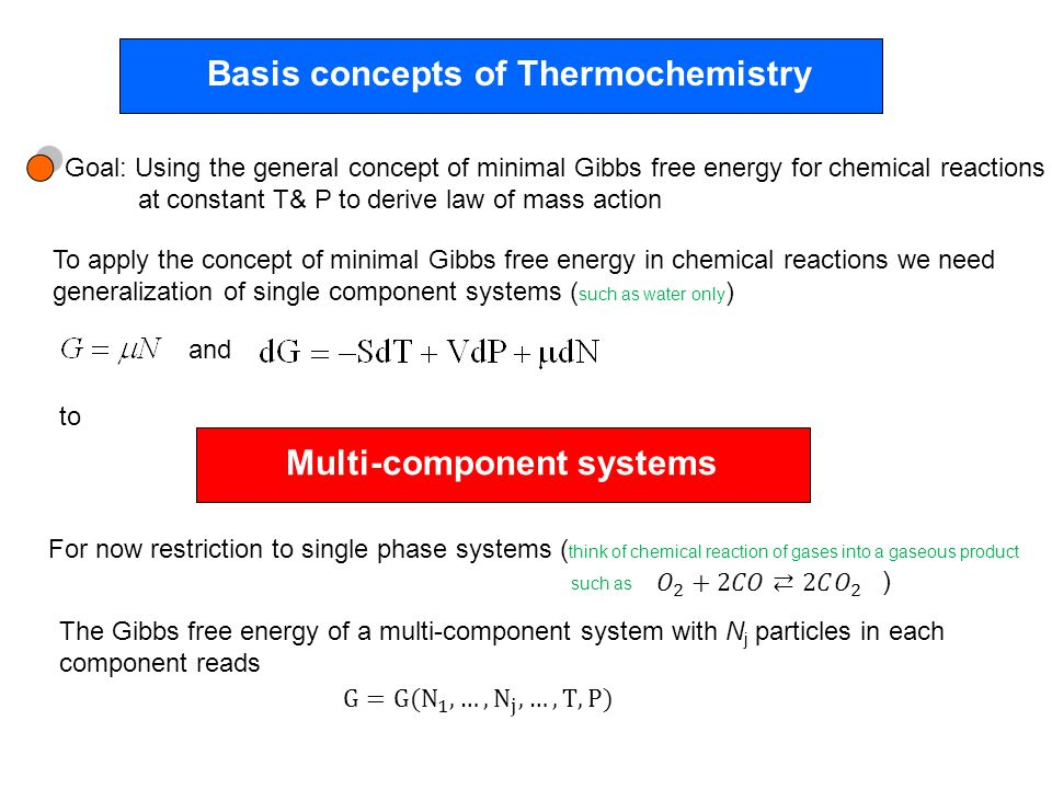 Basis concepts of Thermochemistry Goal: Using the general concept of minimal Gibbs free energy for chemical reactions at constant T& P to derive law of mass action To apply the concept of minimal Gibbs free energy in chemical reactions we need generalization of single component systems ( such as water only ) and to Multi-component systems For now restriction to single phase systems ( think of chemical reaction of gases into a gaseous product such as ) The Gibbs free energy of a multi-component system with N j particles in each component reads