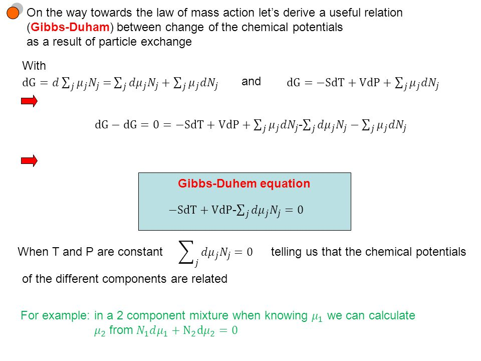 With and Gibbs-Duhem equation When T and P are constanttelling us that the chemical potentials of the different components are related On the way towards the law of mass action let's derive a useful relation (Gibbs-Duham) between change of the chemical potentials as a result of particle exchange
