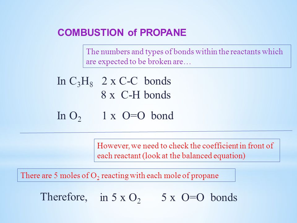 COMBUSTION of PROPANE The numbers and types of bonds within the reactants which are expected to be broken are… In C 3 H 8 2 x C-C bonds 8 x C-H bonds In O 2 1 x O=O bond However, we need to check the coefficient in front of each reactant (look at the balanced equation) There are 5 moles of O 2 reacting with each mole of propane in 5 x O 2 5 x O=O bonds Therefore,