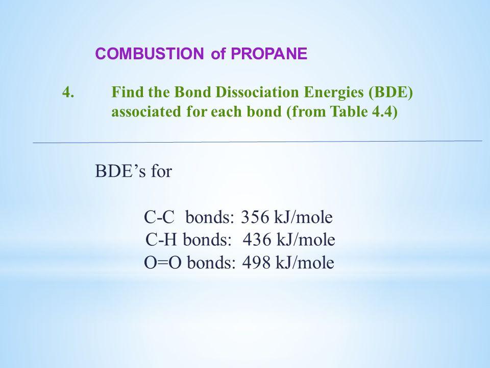 COMBUSTION of PROPANE 4.Find the Bond Dissociation Energies (BDE) associated for each bond (from Table 4.4) BDE's for C-C bonds: 356 kJ/mole C-H bonds: 436 kJ/mole O=O bonds: 498 kJ/mole