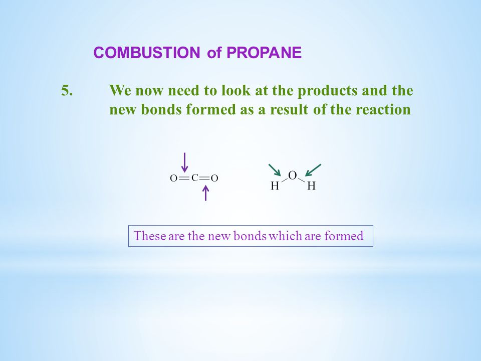 COMBUSTION of PROPANE 5.We now need to look at the products and the new bonds formed as a result of the reaction These are the new bonds which are formed