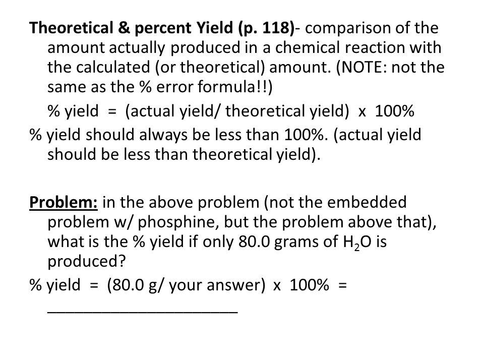 Theoretical & percent Yield (p.