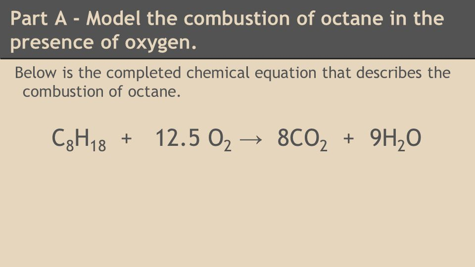 Part A - Model the combustion of octane in the presence of oxygen.