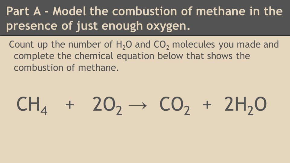 Part A - Model the combustion of methane in the presence of just enough oxygen.