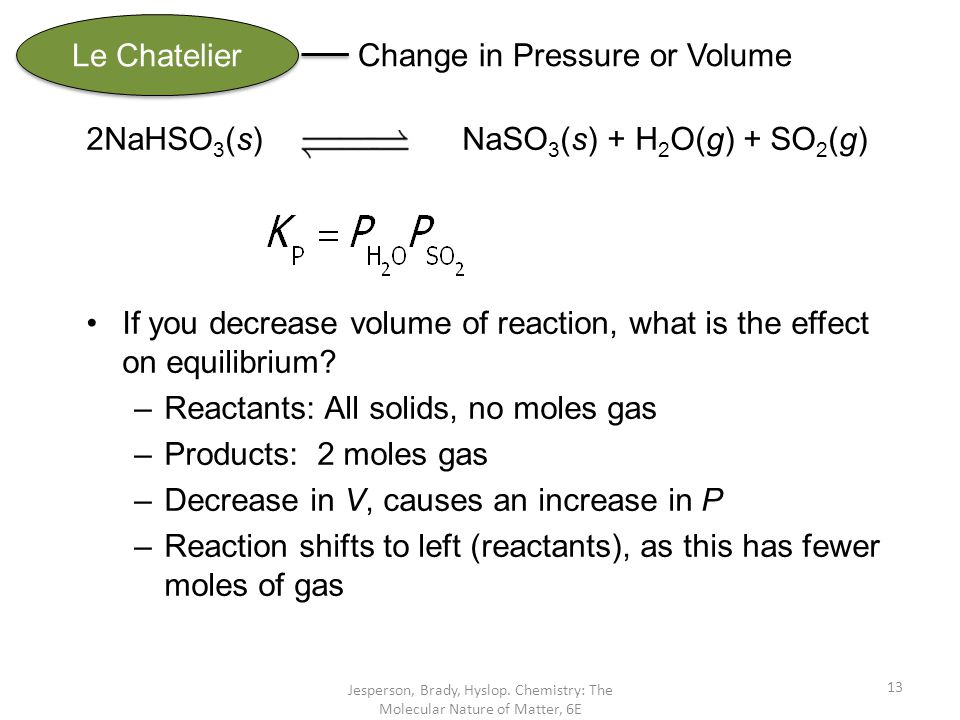 Jesperson, Brady, Hyslop. Chemistry: The Molecular Nature of Matter, 6E 13 Le Chatelier Change in Pressure or Volume 2NaHSO 3 (s) NaSO 3 (s) + H 2 O(g