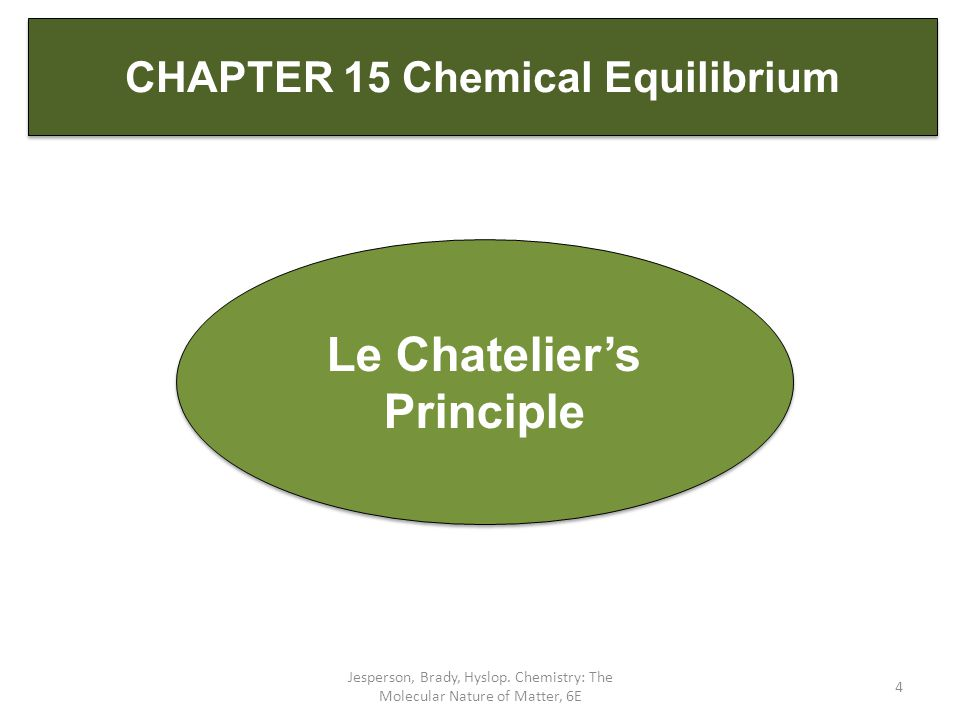 Jesperson, Brady, Hyslop. Chemistry: The Molecular Nature of Matter, 6E 4 Le Chatelier's Principle CHAPTER 15 Chemical Equilibrium