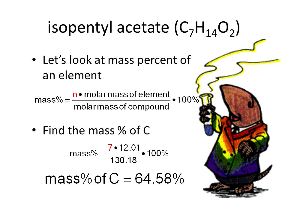 isopentyl acetate (C 7 H 14 O 2 ) Let's look at mass percent of an element Find the mass % of C