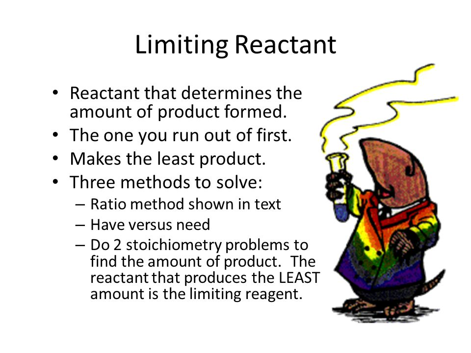 Limiting Reactant Reactant that determines the amount of product formed.