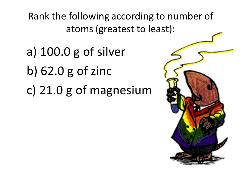 Rank the following according to number of atoms (greatest to least): a) 100.0 g of silver b) 62.0 g of zinc c) 21.0 g of magnesium