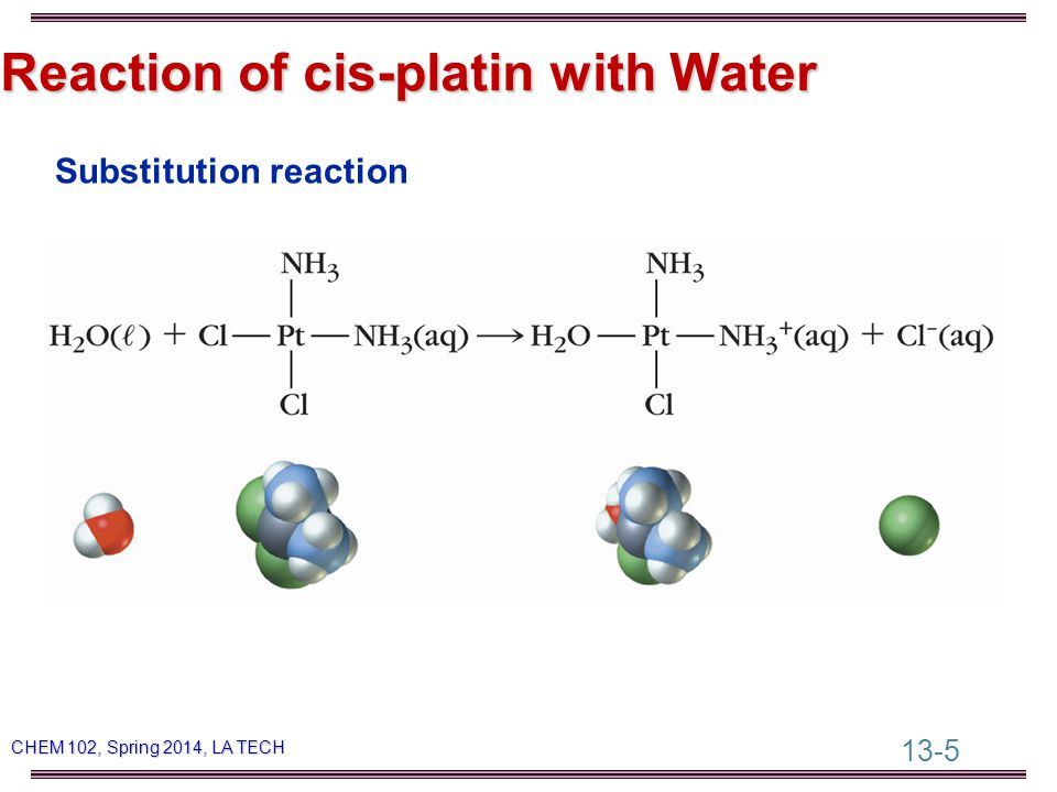 13-5 CHEM 102, Spring 2014, LA TECH Reaction of cis-platin with Water Substitution reaction