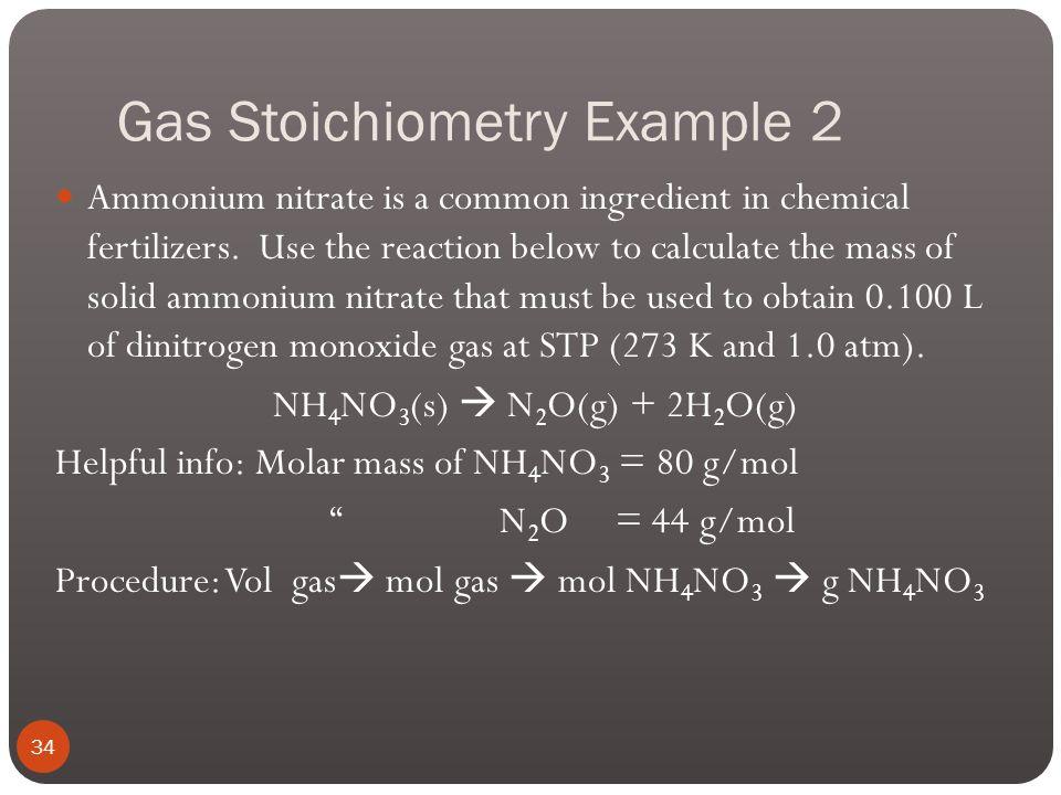 Gas Stoichiometry Example 1 33