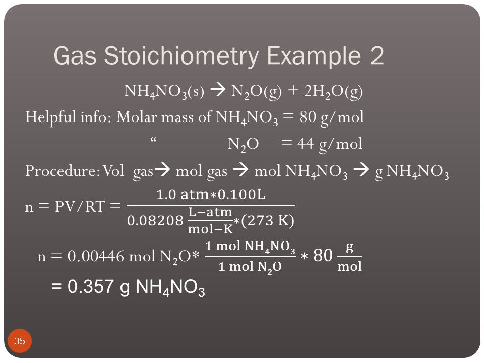 Gas Stoichiometry Example 2 Ammonium nitrate is a common ingredient in chemical fertilizers. Use the reaction below to calculate the mass of solid amm