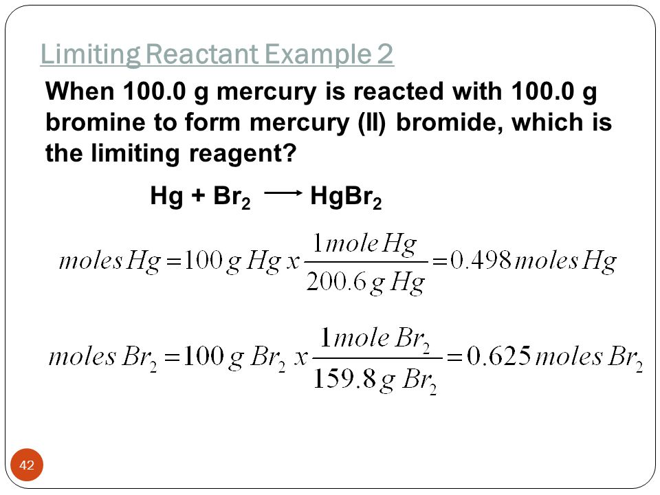 If 20 mol hydrogen is reacted with 20 mol of oxygen to form water, which is the limiting reagent? 2H 2 + O 2 2H 2 O Limiting Reactant Example 1 41 Onl