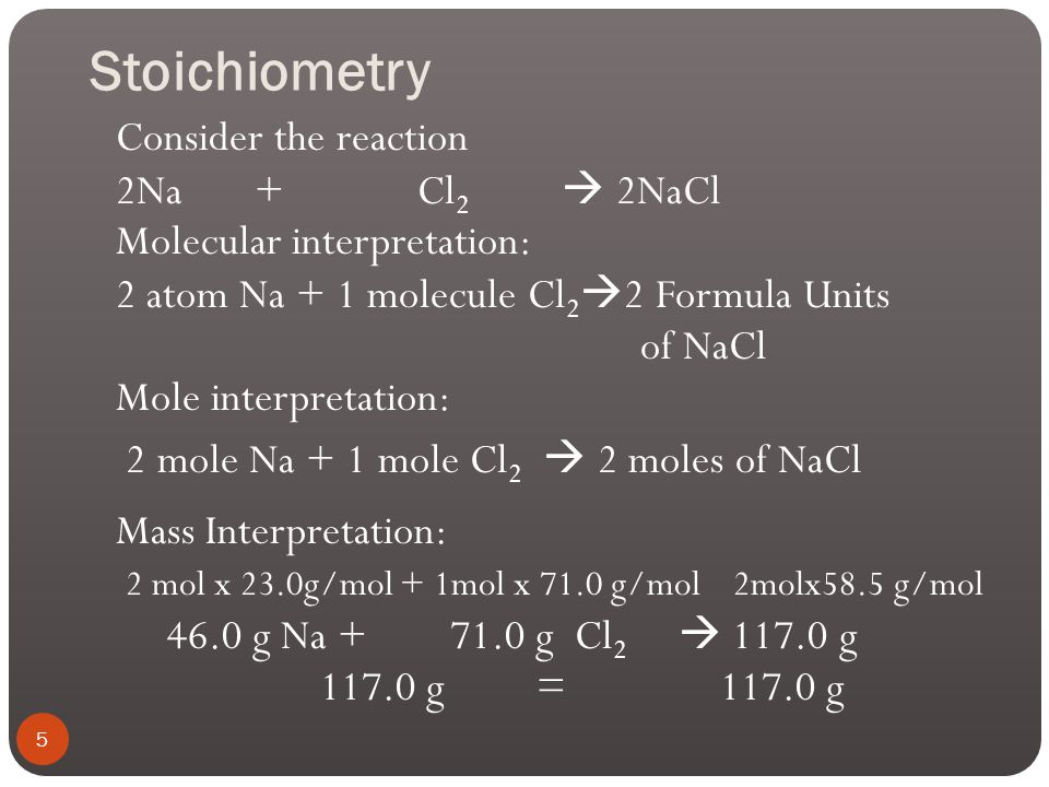 Stoichiometry We can interpret a chemical equation in terms of number of molecules (or ions or formula units) or in terms of number of moles of molecu
