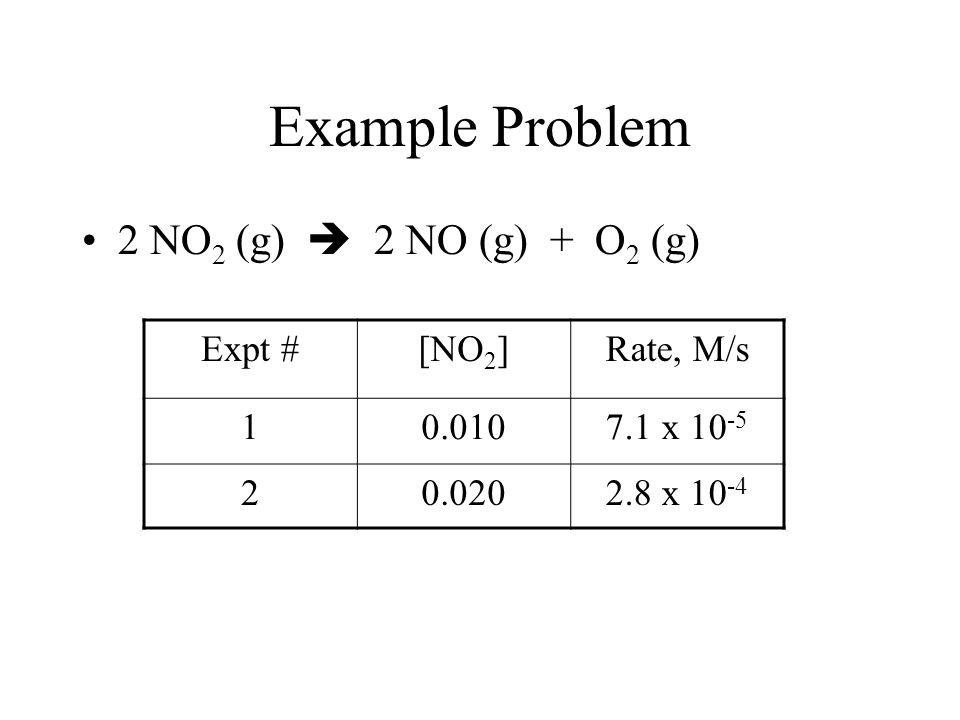 H 2 O 2 (aq) + 3 I - (aq) + 2 H + (aq)  I 3 - (aq) + 2 H 2 O (l) Expt # [H 2 O 2 ] Rel [I - ] Rel [H + ] Rel Initial rate M/s Rel 10.0101 10.000511.1