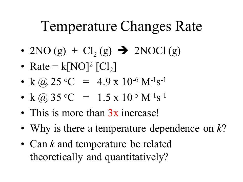 2 NO 2 + O 3  N 2 O 5 + O 2 Rate = k[NO 2 ][O 3 ] 2 NO + Cl 2  2 NOCl Rate = k[NO] 2 [Cl 2 ]