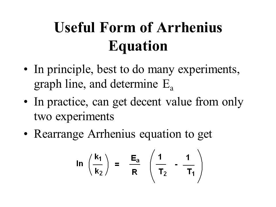 m = -E a /R b = ln A ln k vs. 1/T