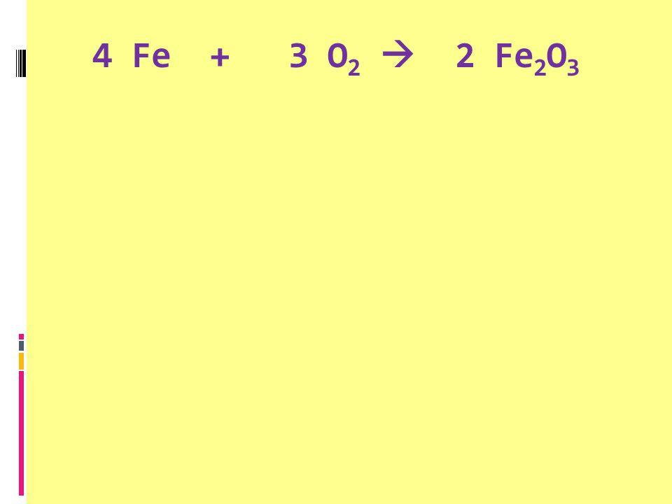 4 Fe + 3 O 2  2 Fe 2 O 3