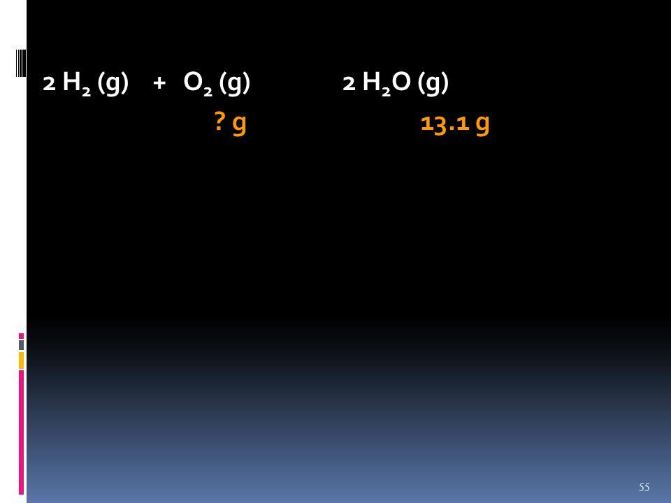 2 H 2 (g) + O 2 (g)2 H 2 O (g) ? g 13.1 g 55