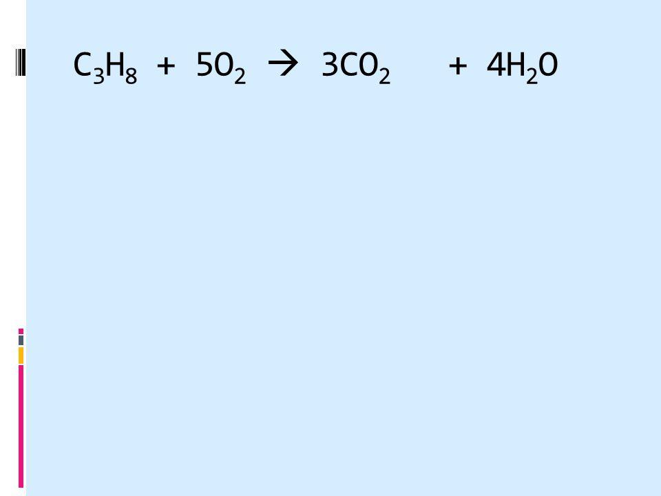 C 3 H 8 + 5O 2  3CO 2 + 4H 2 O