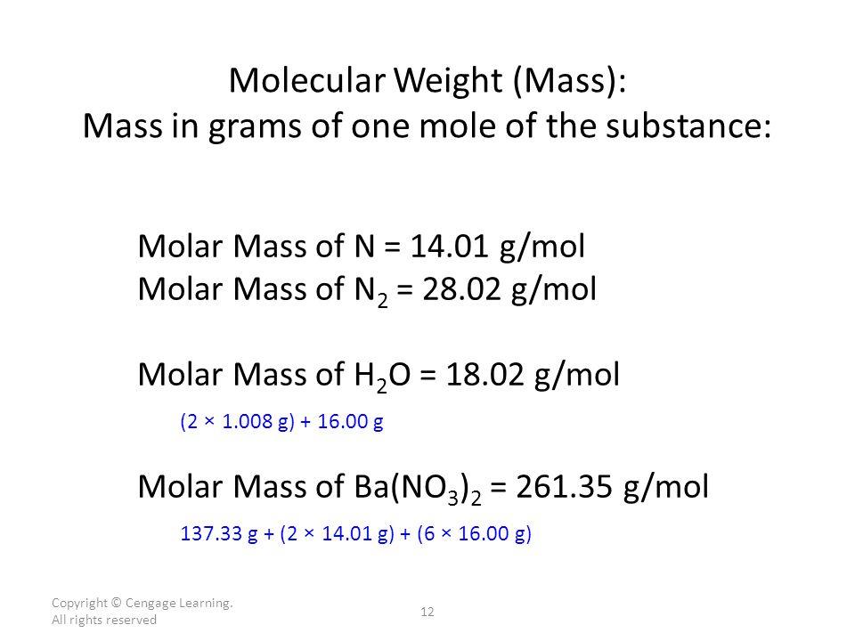 Molecular weight So if the mass (atomic weight) of one atom of hydrogen (H) is 1.008 amu – then the mass (molecular weight) of one hydrogen molecule (H 2 ) is 2.016 amu If the atomic weight of one iodine atom (I) is 126.90 amu – then the molecular weight of one iodine molecule (I 2 ) is 253.80 amu Finally, the molecular weight of each HI molecule must be: – 1.008 amu + 126.90 amu = 127.91 amu