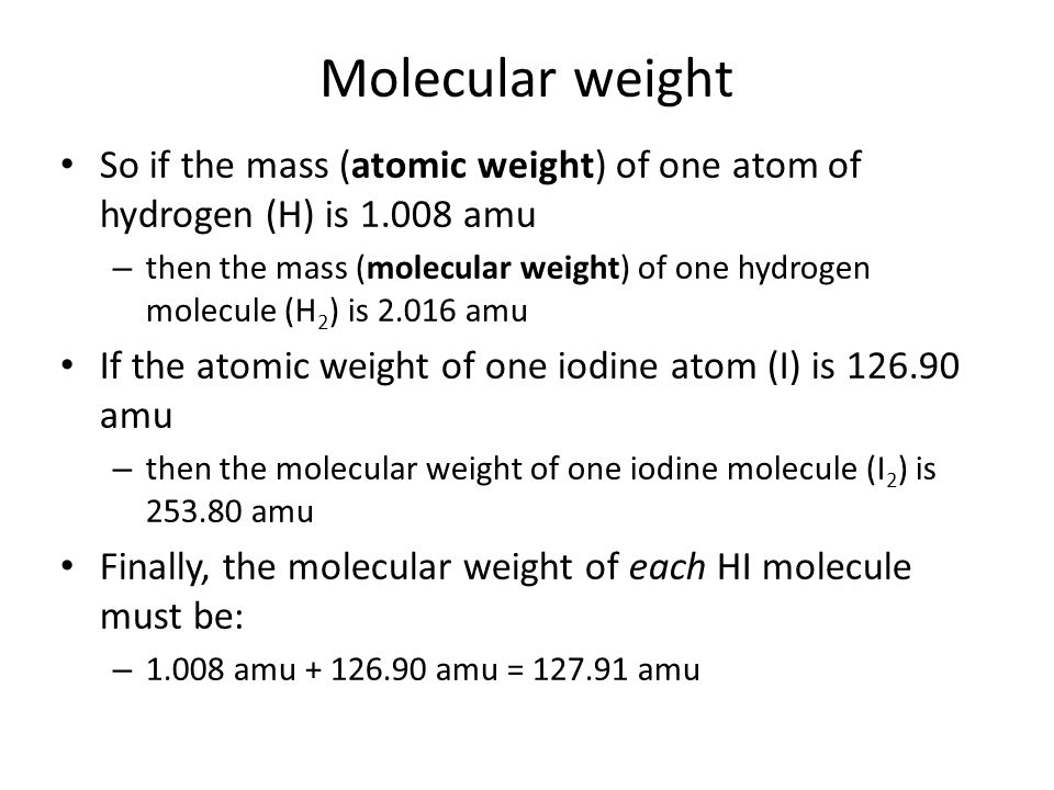 Counting molecules: by mass