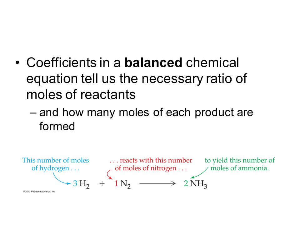 Especially useful, coefficients can be put in the form of mole ratios –which act as conversion factors when setting up dimensional analysis calculations