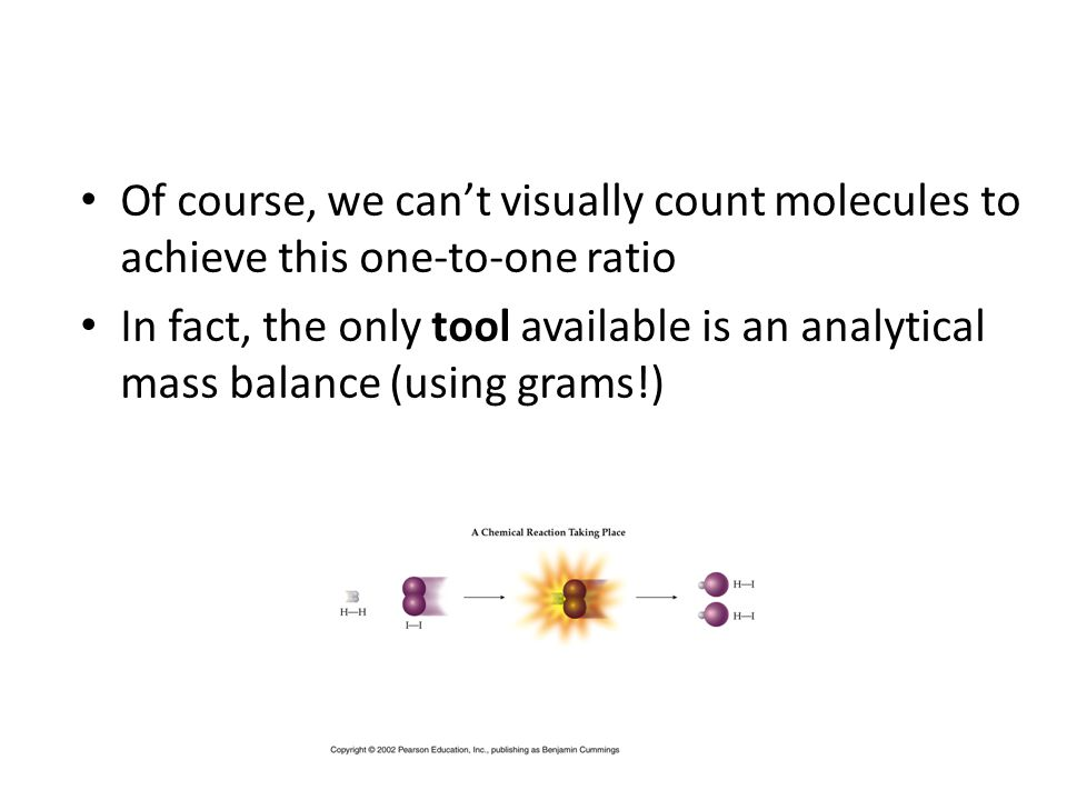 Molecular Weight But how do we relate a sample's mass in grams to the number of molecules it contains.