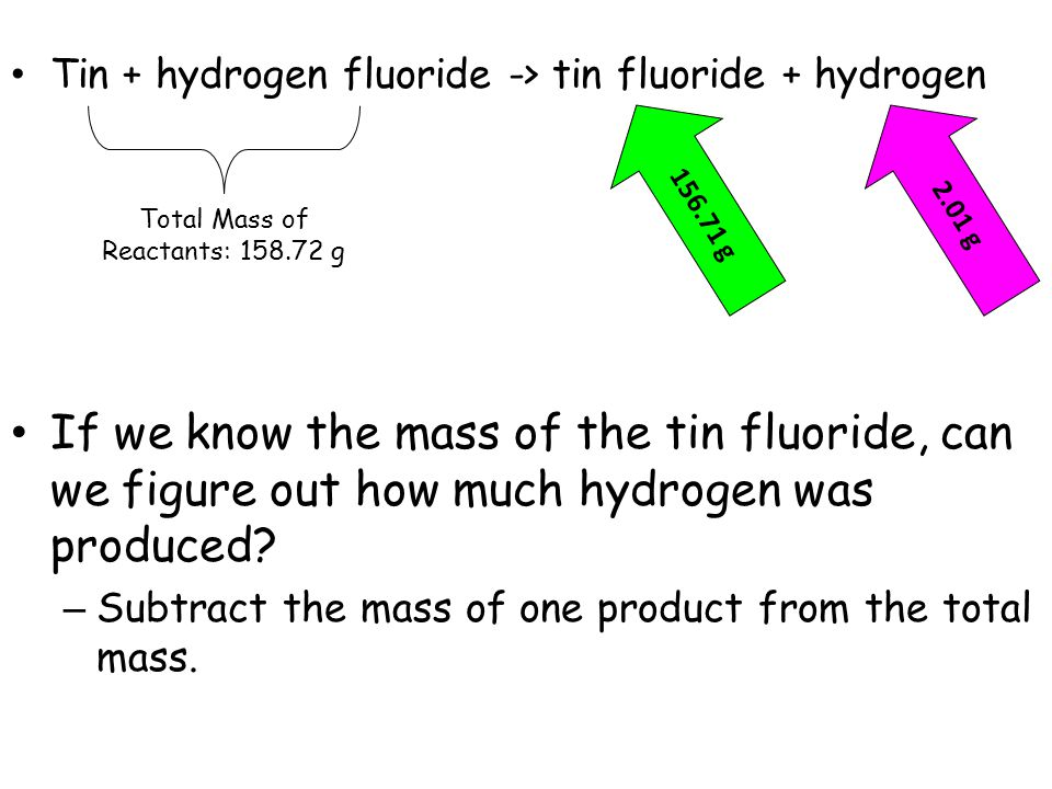 Tin + hydrogen fluoride -> tin fluoride + hydrogen If we know the mass of the tin fluoride, can we figure out how much hydrogen was produced? – Subtra
