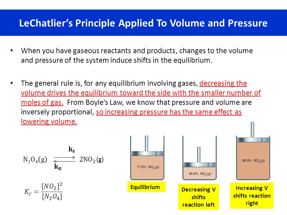 LeChatlier's Principle Applied To Volume and Pressure When you have gaseous reactants and products, changes to the volume and pressure of the system i