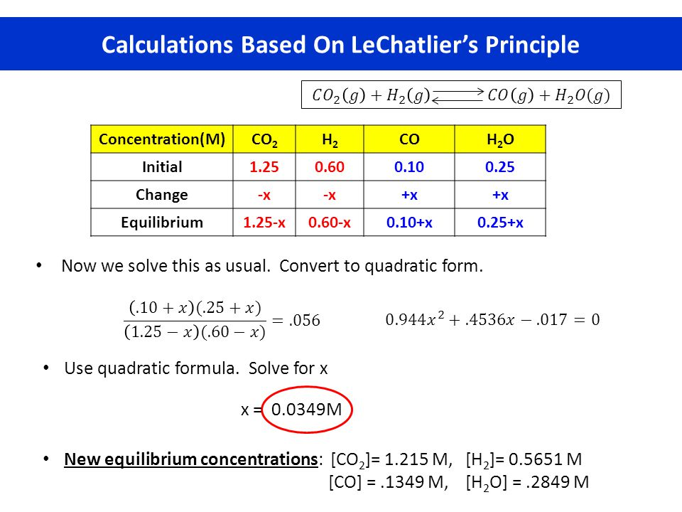 Calculations Based On LeChatlier's Principle Now we solve this as usual. Convert to quadratic form. Use quadratic formula. Solve for x New equilibrium