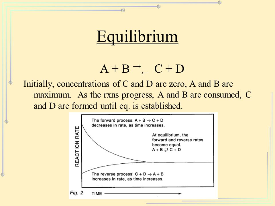 Equilibrium A + B → ← C + D Initially, concentrations of C and D are zero, A and B are maximum. As the rxns progress, A and B are consumed, C and D ar