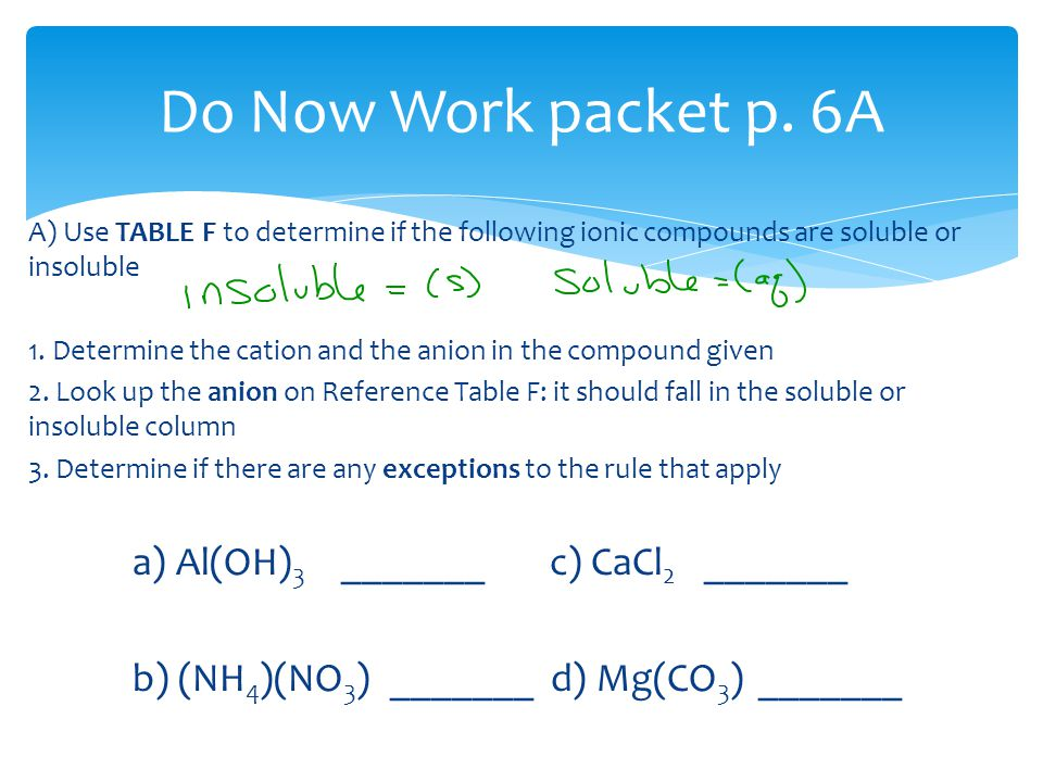 A) Use TABLE F to determine if the following ionic compounds are soluble or insoluble 1.