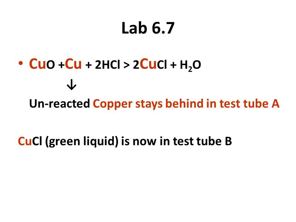 Lab 6.7 Cu O + Cu + 2HCl > 2 Cu Cl + H 2 O ↓ Un-reacted Copper stays behind in test tube A CuCl (green liquid) is now in test tube B