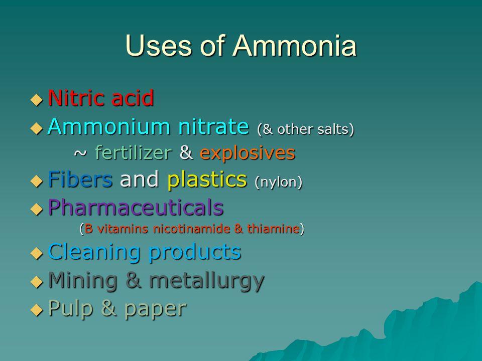 Uses of Ammonia  Nitric acid  Ammonium nitrate (& other salts) ~ fertilizer & explosives ~ fertilizer & explosives  Fibers and plastics (nylon)  P
