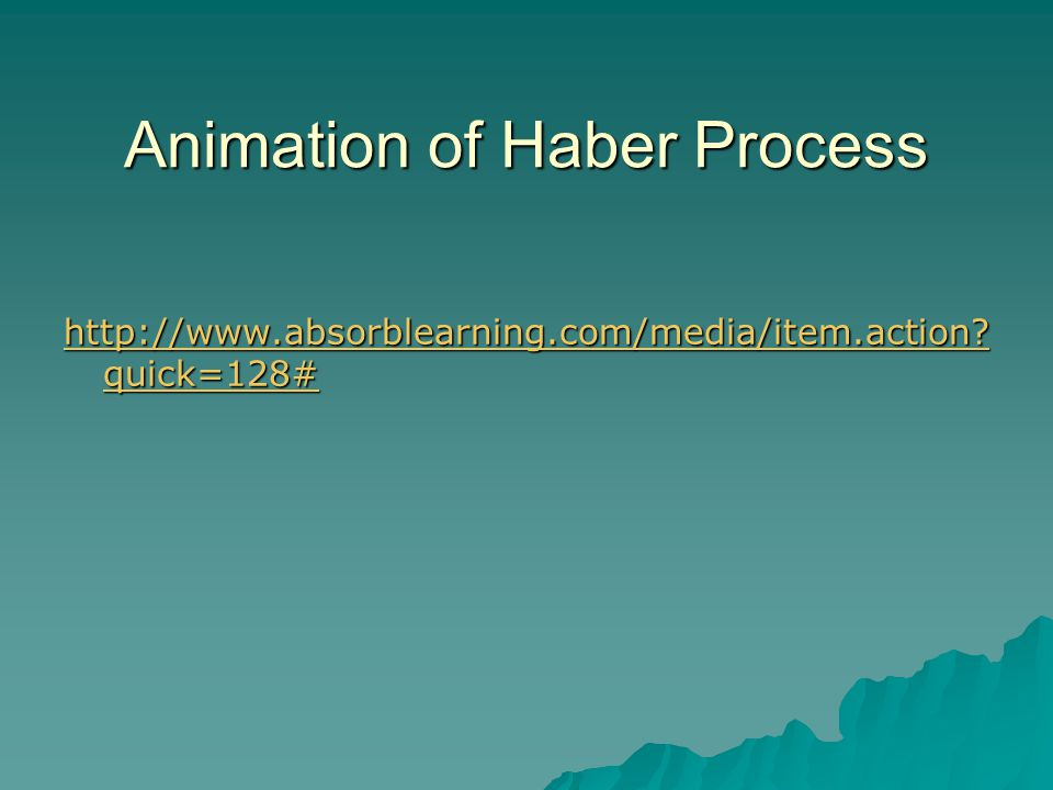 Animation of Haber Process http://www.absorblearning.com/media/item.action? quick=128# http://www.absorblearning.com/media/item.action? quick=128#