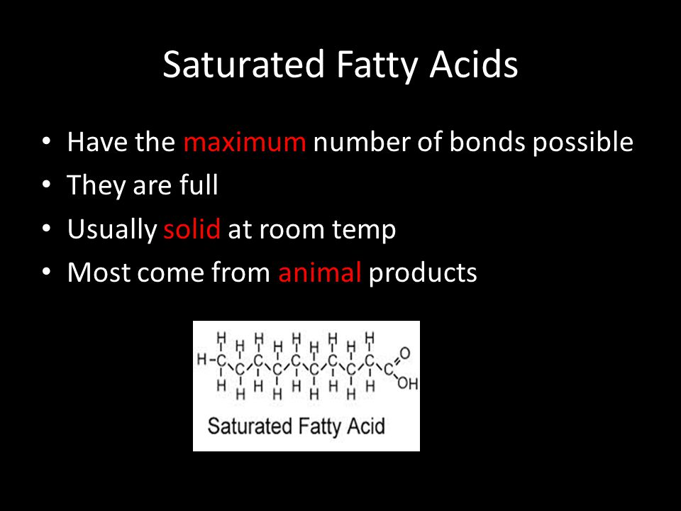 Saturated Fatty Acids Have the maximum number of bonds possible They are full Usually solid at room temp Most come from animal products