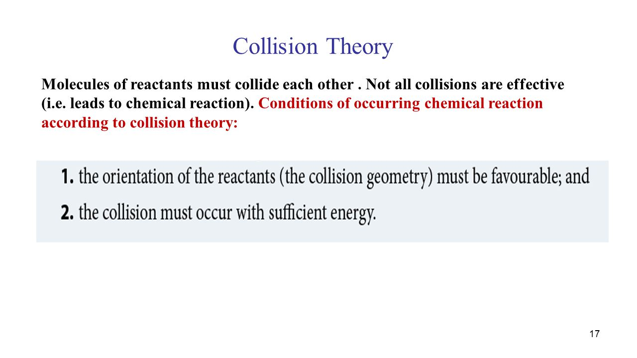 Collision Theory Molecules of reactants must collide each other.