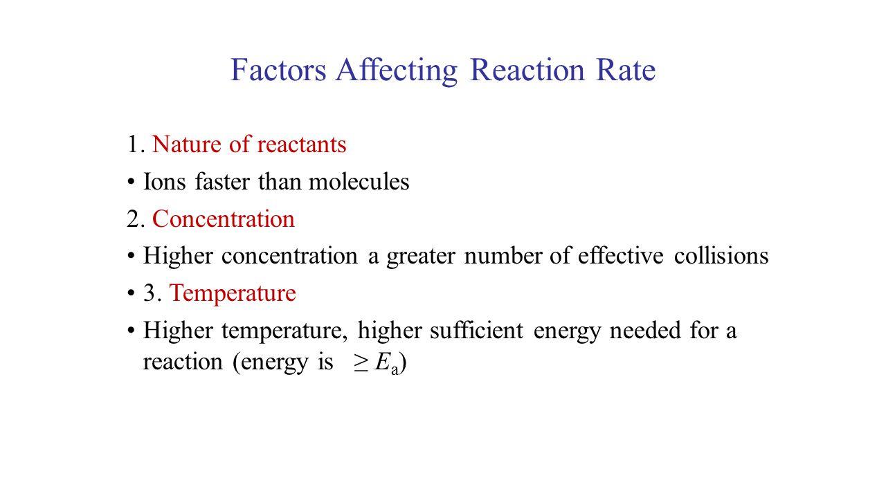 UNIT 3 Section 6.2 Factors Affecting Reaction Rate 1.