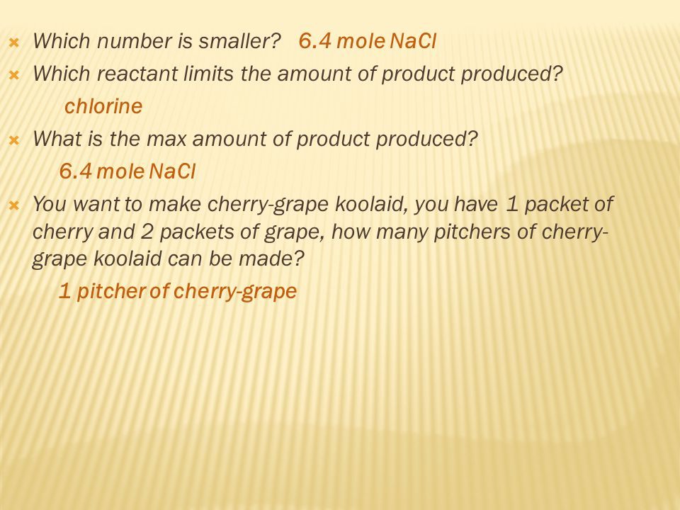  Which number is smaller. 6.4 mole NaCl  Which reactant limits the amount of product produced.