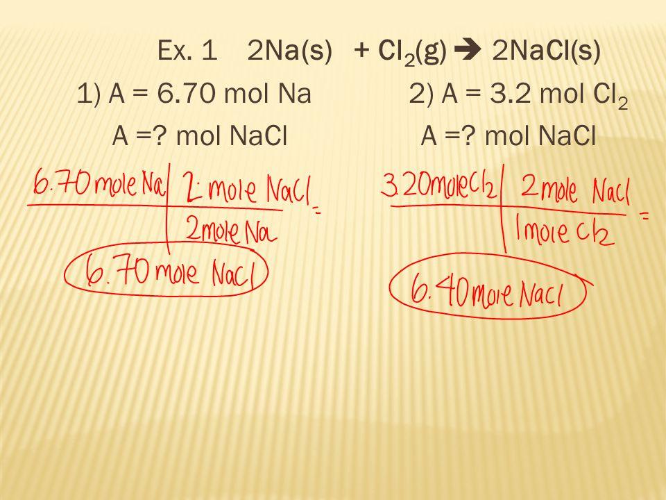 Ex. 1 2Na(s) + Cl 2 (g)  2NaCl(s) 1) A = 6.70 mol Na 2) A = 3.2 mol Cl 2 A =.