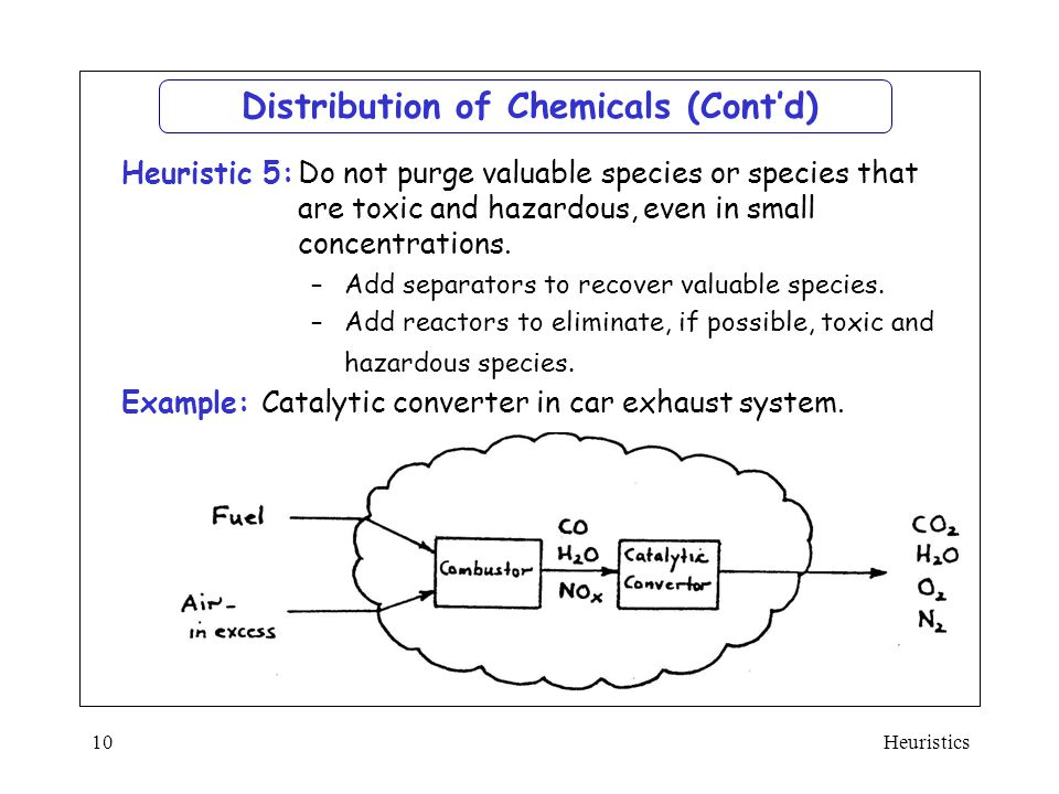 Heuristics10 Distribution of Chemicals (Cont'd)  Do not purge valuable species or species that are toxic and hazardous, even in small concentrations.