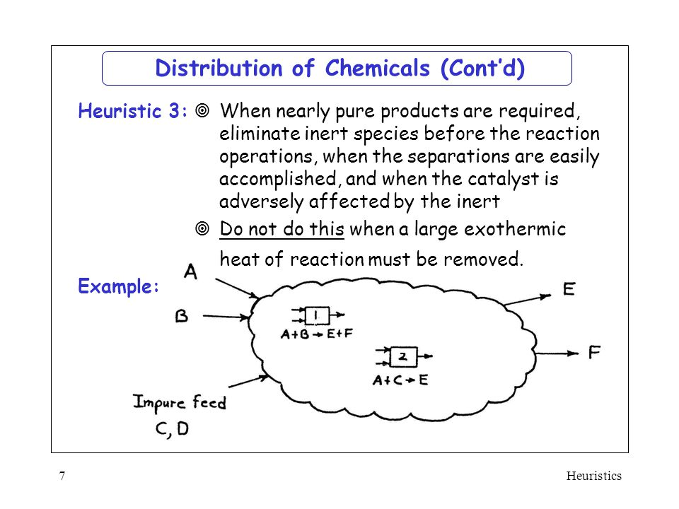 Heuristics7 Example: Distribution of Chemicals (Cont'd)  When nearly pure products are required, eliminate inert species before the reaction operatio