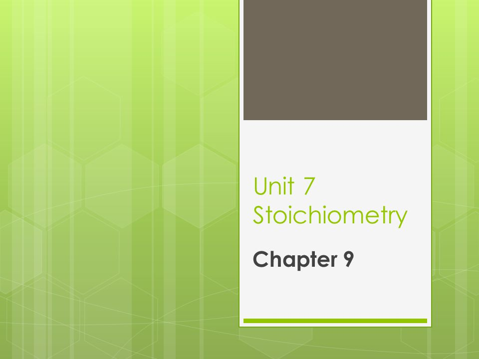 FYI  Stoichiometry is derived from the Greek words στοιχεῖον (stoicheion, meaning element]) and μέτρον (metron, meaning measure.)  Stoichiometry = measuring elements