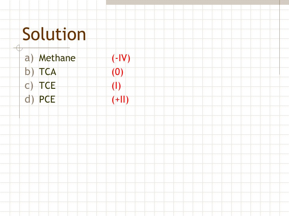 Solution a) Methane (-IV) b) TCA (0) c) TCE(I) d) PCE (+II)