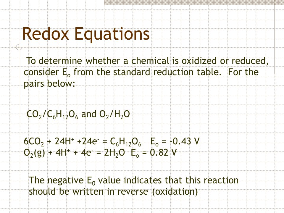 Redox Equations CO 2 /C 6 H 12 O 6 and O 2 /H 2 O To determine whether a chemical is oxidized or reduced, consider E o from the standard reduction tab