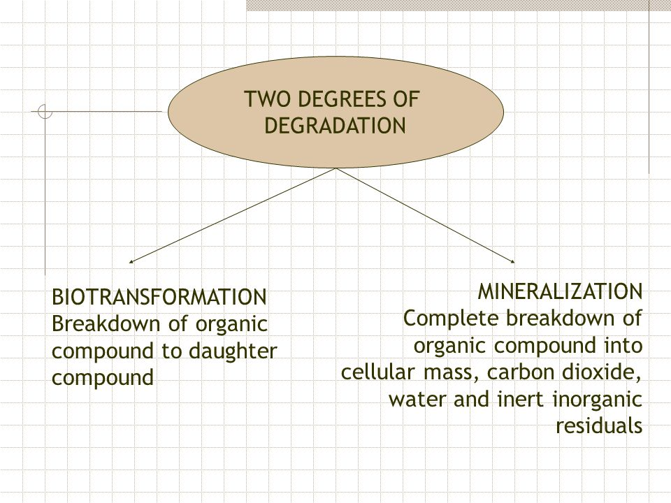TWO DEGREES OF DEGRADATION BIOTRANSFORMATION Breakdown of organic compound to daughter compound MINERALIZATION Complete breakdown of organic compound