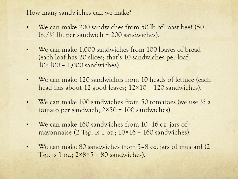 Let's look at this in another form.The maximum number of sandwiches we can make is 80 sandwiches.