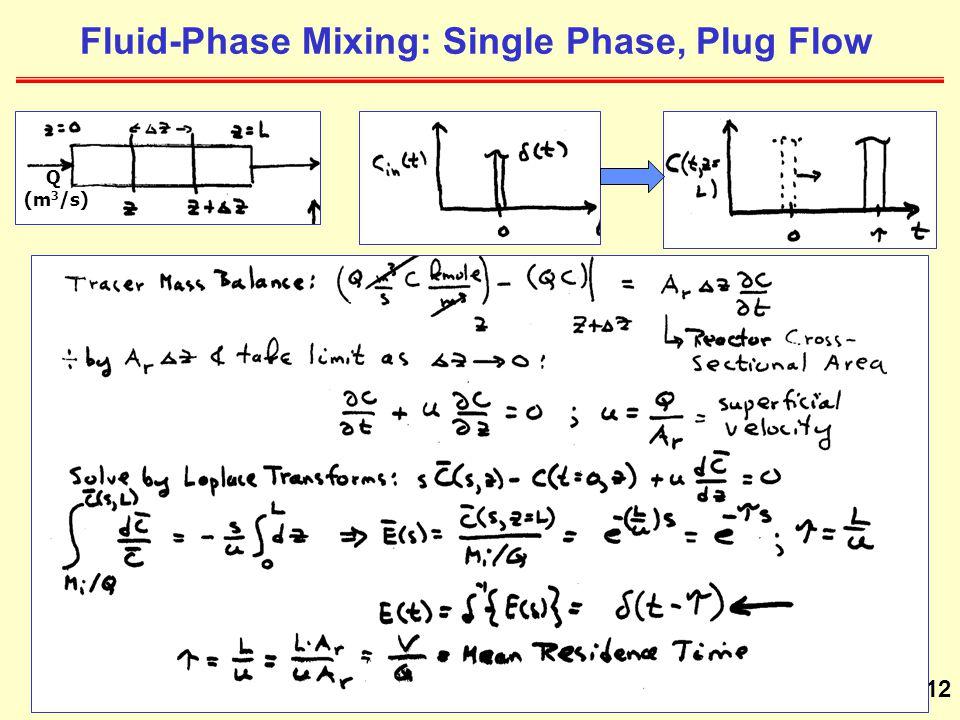 12 Fluid-Phase Mixing: Single Phase, Plug Flow Q (m 3 /s)